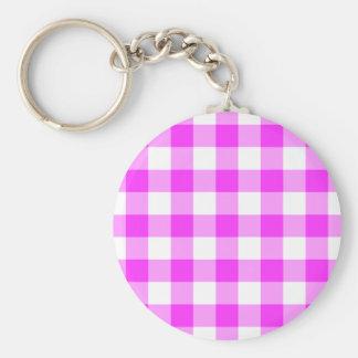 Llavero rosado y blanco de la tela escocesa