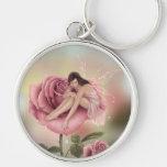 Llavero superior de hadas de la flor color de rosa