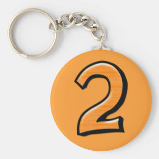 Llavero tonto del naranja del número 2