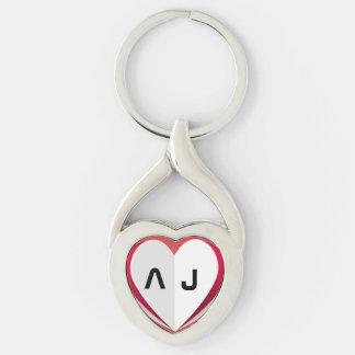 Llavero torcido forma del metal del corazón del llavero plateado en forma de corazón