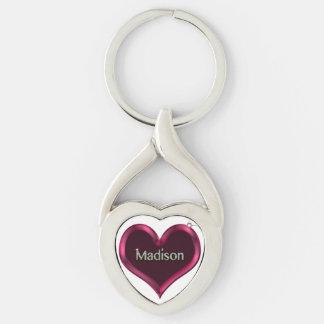 Llavero torcido Madison del metal del corazón de Llavero Plateado En Forma De Corazón