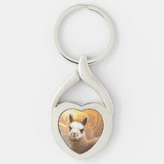 Llavero torcido oro del corazón de la alpaca llavero plateado en forma de corazón