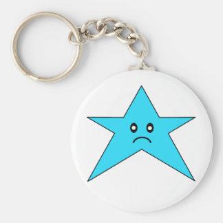 Llavero triste azul de la estrella
