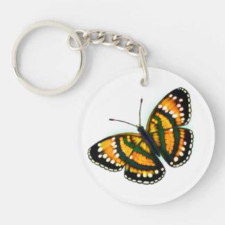 Llavero tropical de la mariposa del amarillo de la