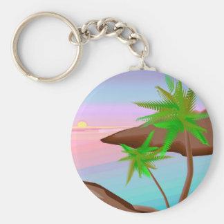 Llavero tropical de la puesta del sol de la isla