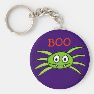 Llavero verde de la araña de Halloween