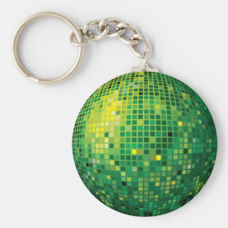 Llavero verde de la bola de discoteca