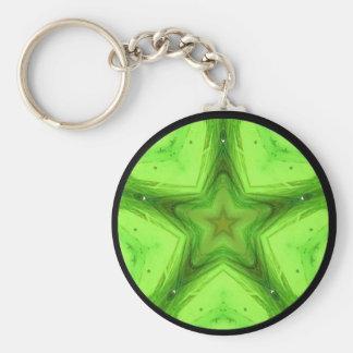 Llavero verde de la mandala de la estrella