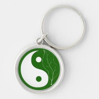 Llavero verde de Yin Yang de la hoja