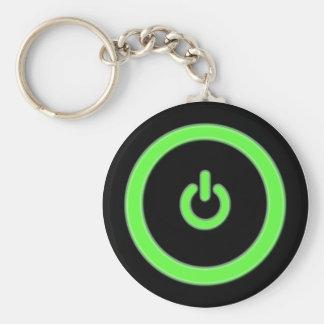 Llavero verde del botón de encendido del ordenador