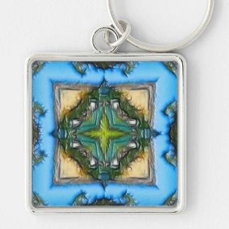 Llavero verde del cuadrado del diamante