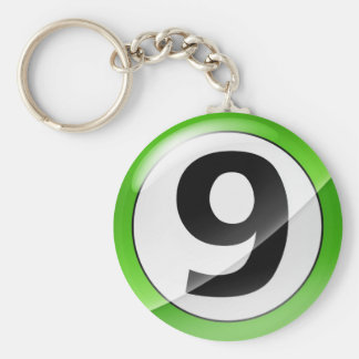 Llavero verde del número 9