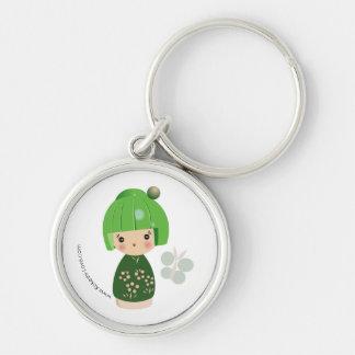 Llavero verde del premio del trío de Kokeshi