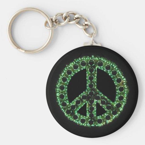 llavero verde del signo de la paz