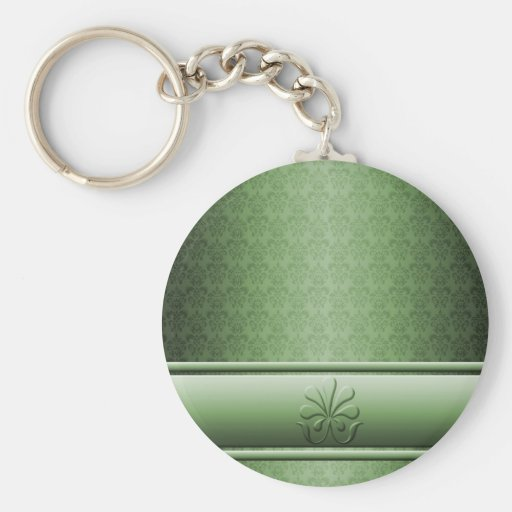 Llavero verde elegante de lujo del damasco