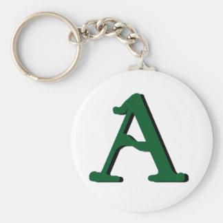 Llavero (verde oscuro) del monograma de A