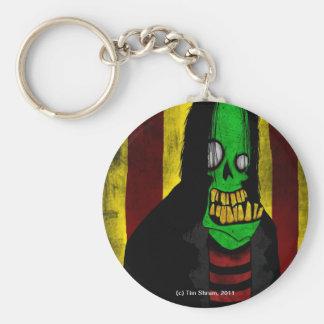 Llavero verde sonriente del zombi