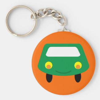 Llavero verde sonriente lindo del coche del dibujo