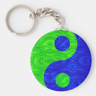 Llavero verde y azul del símbolo de Yin Yang