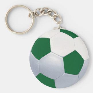 Llavero verde y blanco del balón de fútbol