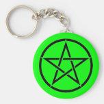 Llavero verde y negro de Wiccan del Pentagram del