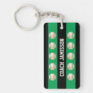Llavero verde y negro para el entrenador de béis