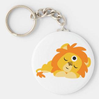Llavero vigilante lindo del león del dibujo animad