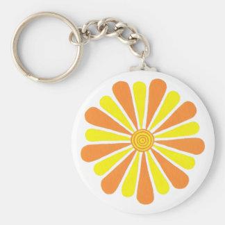 Llaveros anaranjados y amarillos de la flor de la