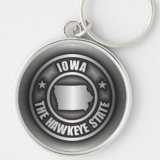 """""""Llaveros del acero de Iowa"""" Llavero Redondo Plateado"""