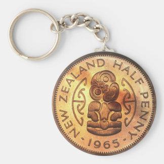 Llaveros maoríes de la moneda del medio penique de