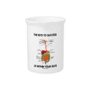 Llaves a la mentira del éxito dentro de su tripa jarras para bebida