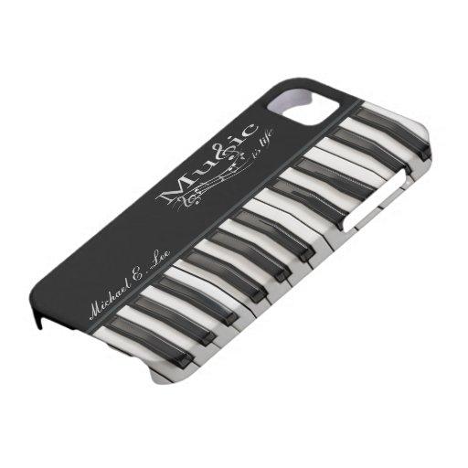 Llaves brillantes personalizadas del piano iPhone 5 Case-Mate cobertura