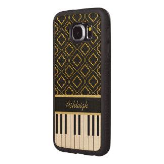 Llaves de encargo elegantes del piano con el oro funda de madera para samsung galaxy s6