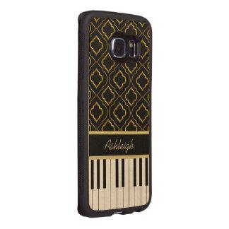 Llaves de encargo elegantes del piano con el oro funda de madera para samsung galaxy s6 edge