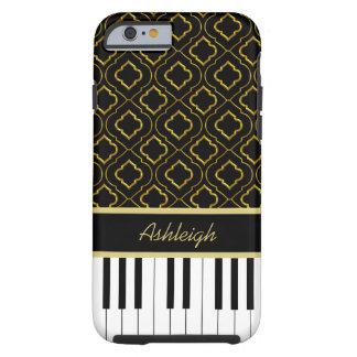 Llaves de encargo elegantes del piano con el oro funda resistente iPhone 6