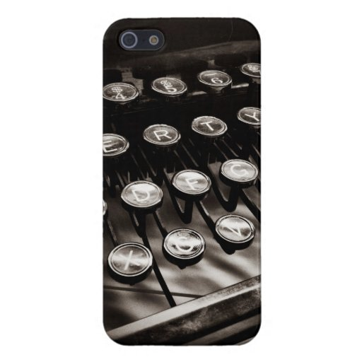 Llaves de la máquina de escribir del vintage en bl iPhone 5 funda