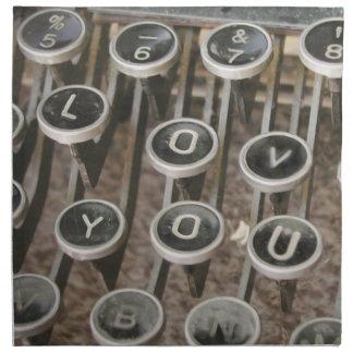 "Llaves de la máquina de escribir del vintage ""te a servilleta de papel"
