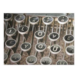 """Llaves de la máquina de escribir del vintage """"te invitación 13,9 x 19,0 cm"""