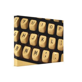 Llaves de la máquina de escribir en lona lona estirada galerias