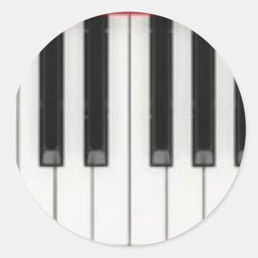 Llaves de teclado de piano pegatina redonda