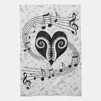 Llaves del corazón y del piano de las notas musica toallas de mano