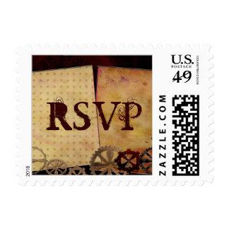 Llaves del diseño de Steampunk RSVP, engranajes y Timbres Postales