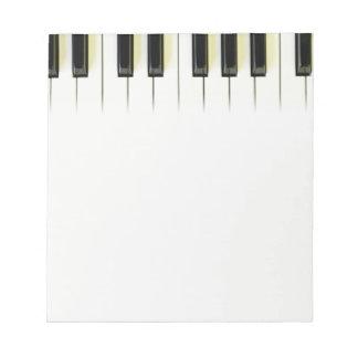 Llaves del piano bloc de papel