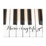 Llaves del piano con cita de la música lona estirada galerias