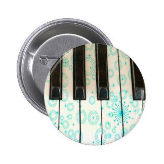 Llaves del piano con los círculos de la aguamarina pin redondo de 2 pulgadas