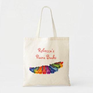 Llaves del piano del arco iris bolsa tela barata