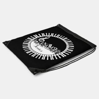 Llaves del piano del bw y notas personalizadas de mochilas