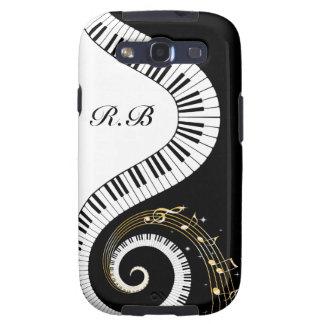 Llaves del piano del monograma y notas musicales samsung galaxy s3 carcasas