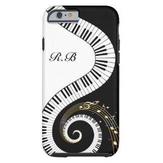 Llaves del piano del monograma y notas musicales funda de iPhone 6 tough
