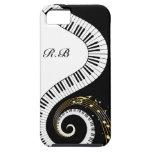 Llaves del piano del monograma y notas musicales iPhone 5 Case-Mate carcasas